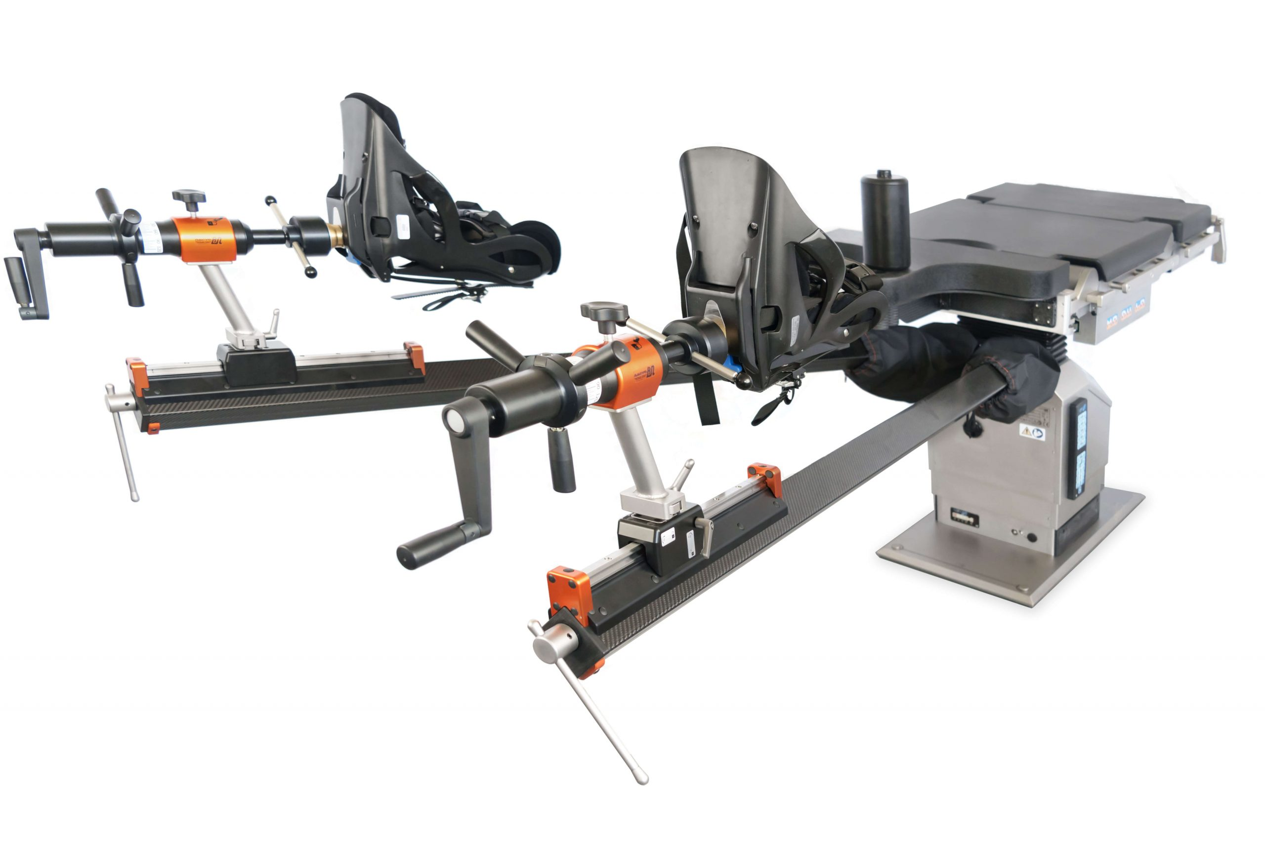 Orthopedic traction unit in carbon fiber for electromechanical and manual operating tables